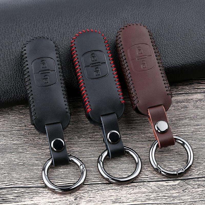 Leather Car Remote Key Case Cover For Mazda 2 3 6 Atenza Axela Demio CX-5 CX5 CX-3 CX7 CX-9 2015 2016 2017 2018 2019 Accessories
