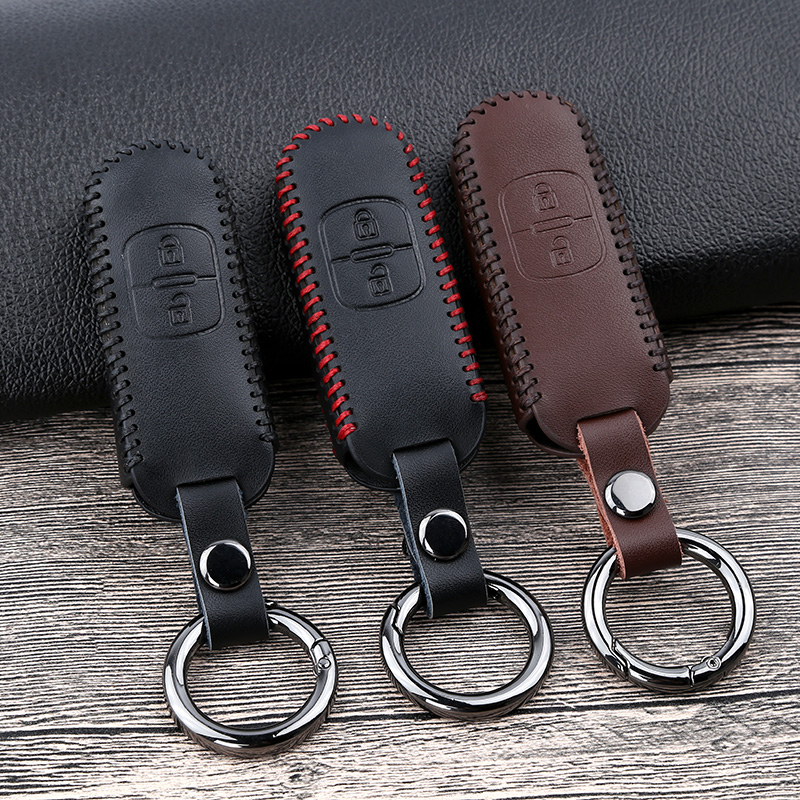 Leather Car Remote Key Case Fob Cover For Mazda 2 3 6 Atenza Axela CX-5 CX5 CX 5 CX-7 CX-9 2015 2016 2017 2018 Smart 2/3 Buttons цены онлайн