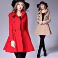 Venta caliente vestido de 2016 de moda de doble botonadura abrigo de lana para mujer abrigo de invierno rojo sólido abrigo plus tamaño de la chaqueta femenina de la vendimia c10