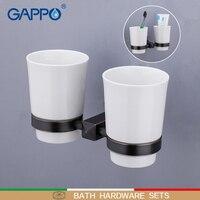 Gappo 컵 텀블러 홀더 황동 더블 컵 유리 홀더 벽 마운트 욕실 액세서리 칫솔 치아 컵 홀더
