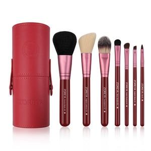Image 5 - Zoreya Brand 7Pcs Black Natural Goat Hair Lip Professional Makeup Brushes Blush Powder Foundation Eye Shadow Makeup Tools Wool
