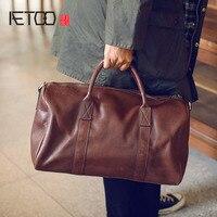 AETOO мужская кожаная дорожная сумка из воловьей кожи, Мужская модная повседневная большая сумка
