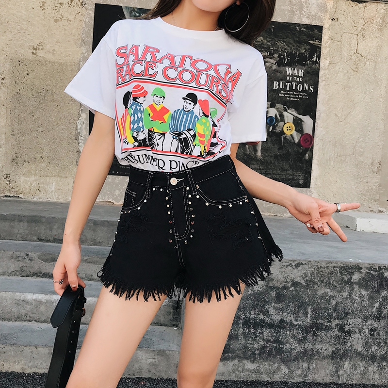 ripped jeans for women  black sexy pant high waist Moustache Effect Tassel
