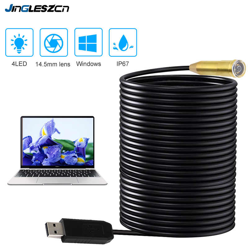 Endoscope 14.5mm Lens USB Endoscope Camera IP67 Waterproof 20m/25m Snake Tube Inspection Borescope For PC Windows OS Computer