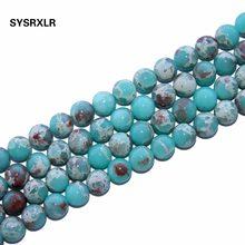 74115f193284 Redonda al por mayor de piedra ShouShan de piel de serpiente azul cuentas de  piedra Natural pulsera DIY Collar para joyería de 6.