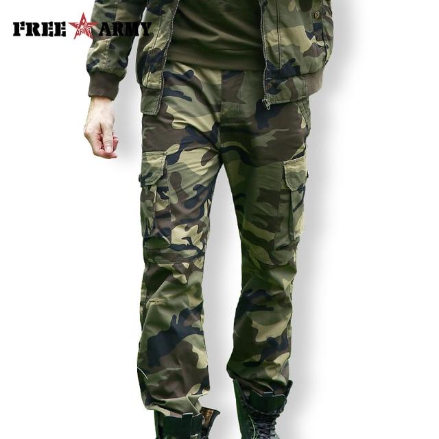 Freearmy marca cidade tático calças dos homens carga militar calças camo algodão muitos bolsos estiramento flexível homem casual 6xl