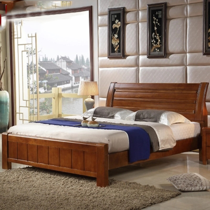 furniture bedroom double box solid wood 1518m modern