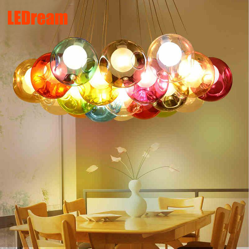 ФОТО Art color bubble ball chandelier creative personality clothing store restaurant bar counter glass ball ball pendant lamp