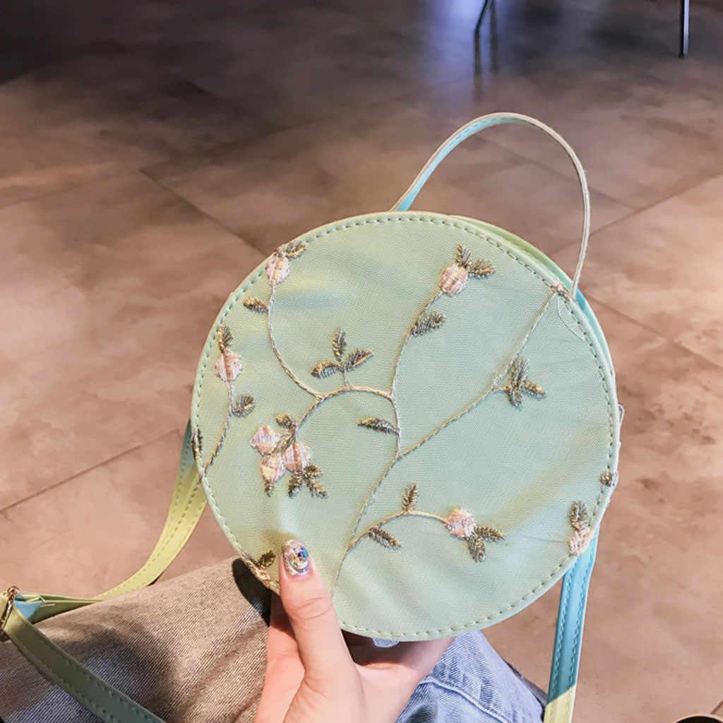 Tas Wanita Fashion Renda Segar Tas Selempang Warna Solid Bulat Kecil Carteras Mujer De Hombro Y Bolsos Tas untuk Wanita 2019