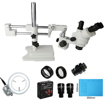 3.5X-90X Universal Double Boom Stand Trinocular Stereo Microscope 20MP HDMI 1920