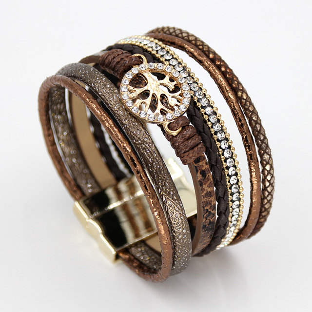 VONNOR Jewelry Bracelets for Women Multi-layer Leather Rope Rhinestone Alloy Accessories Magnet Clasp Bangle Bracelete Feminino 2
