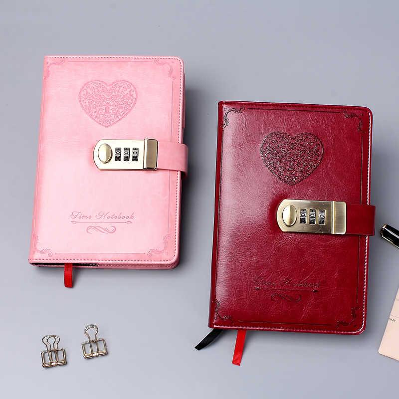Journal B6 mot de passe livre avec serrure rétro cahier voyage école filles cadeau cahier Journal planificateur d'affaires