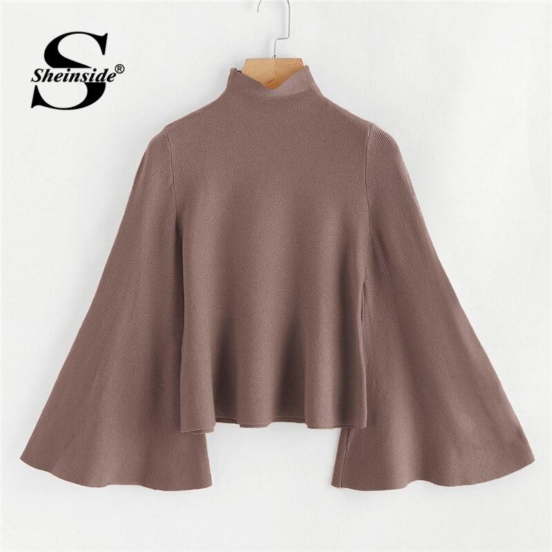 599b41654eb0 Sheinside jengibre Rosa Borgoña 3 Color las mujeres suéter de cuello de  manga de campana de Jersey 2018 otoño elegante suéteres de punto