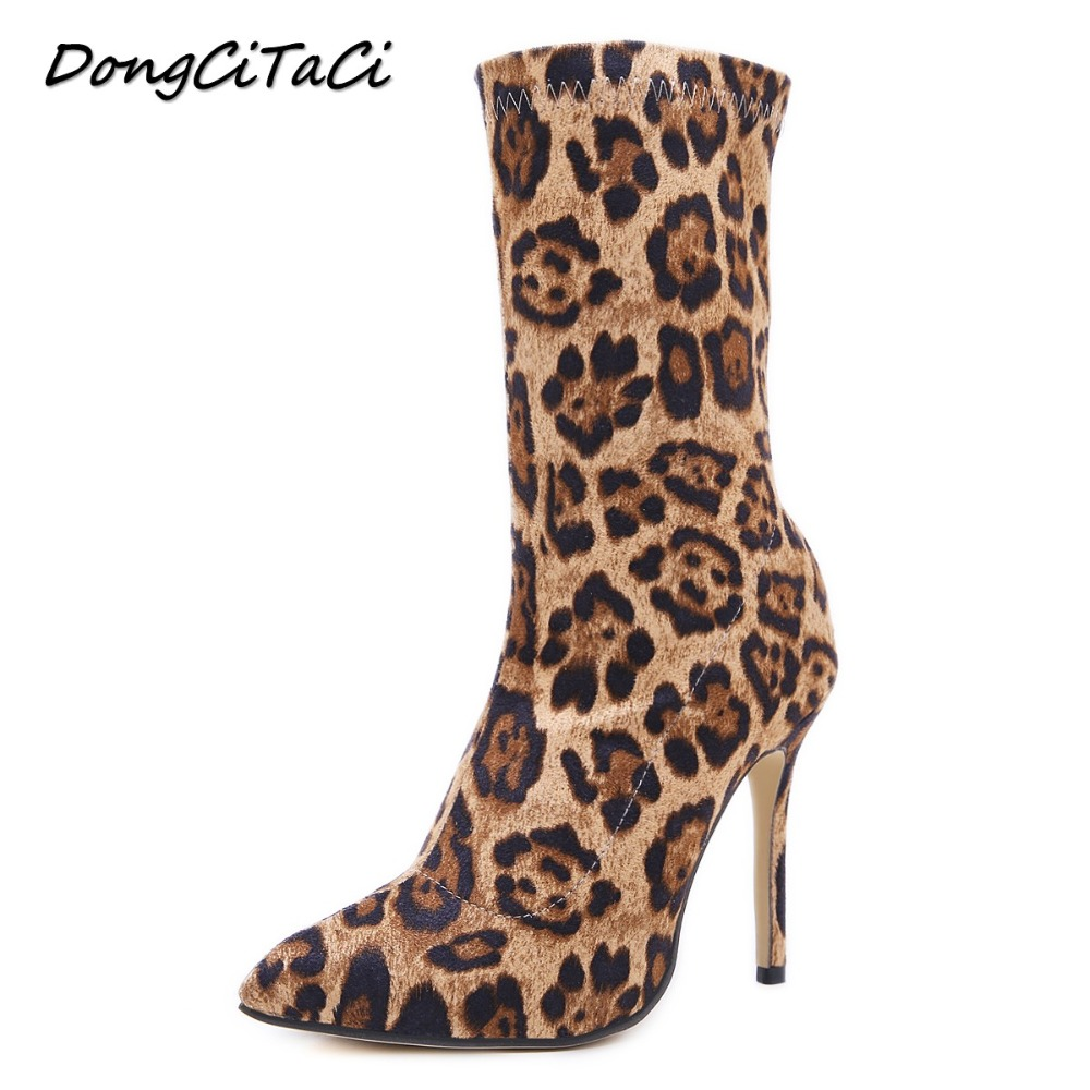 DongCiTaCi Autumn Winter Women Leopard Ankle Short Boots Shoes Woman Pointed toe High Heels Pumps Female Stilettos Star BootieDongCiTaCi Autumn Winter Women Leopard Ankle Short Boots Shoes Woman Pointed toe High Heels Pumps Female Stilettos Star Bootie
