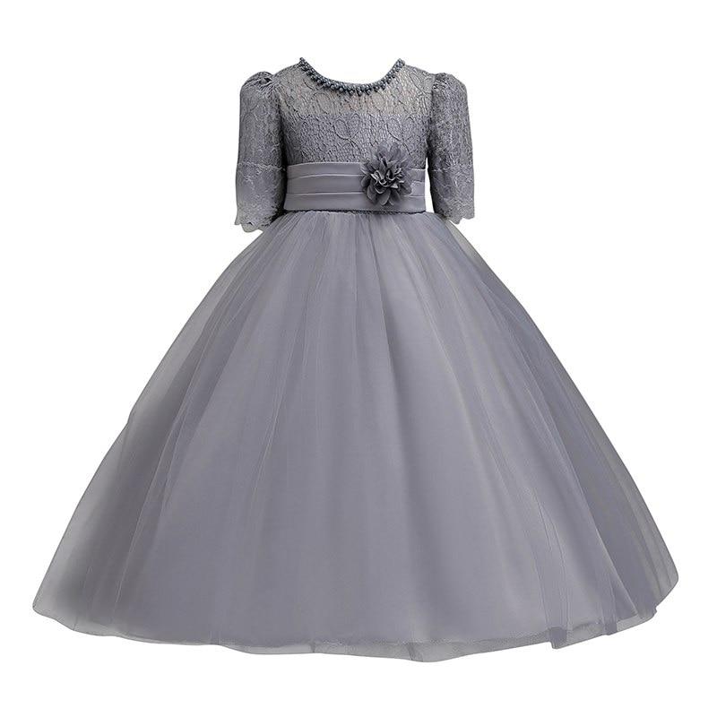 Image 5 - Vogueon платье принцессы на свадьбу; платье для девочек подростков летние с коротким рукавом для девочек в цветочек вечернее белое длинное платье со шнуровкой вечерние элегантный праздничный гала Концерт Платье-in Платья from Мать и ребенок