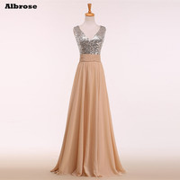 2017 Cheap Simple Bridesmaid Dresses Long Sequins Bridesmaid Dress Champagne and Silver Formal Dresses Elegant V Neck Prom Gown
