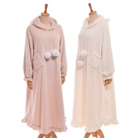 1pc Pink/White Girls Cute Cat Ears Hooded Soft Fleece Sleepwear withTail Lolita Nightgown Short/Long Type