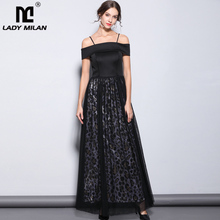 Lady Milan Womens Party Prom Sexy Strapless Slash Neckline Leopard Printed Layered Elegant Long Designer Runway Dresses