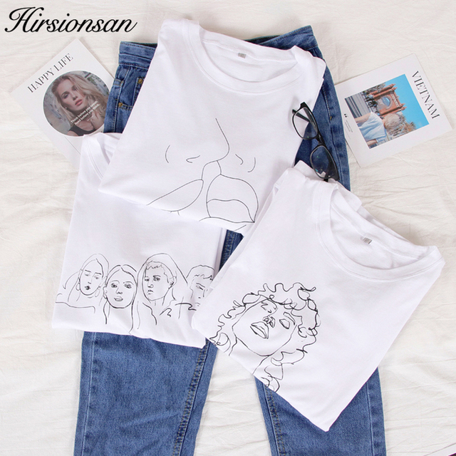 b222a394 Hirsionsan White Abstract Print Tee 2019 Women Round Neck Clothes Cotton T  Shirt 90s Graphic Summer Tumblr Short Sleeve Tshirts