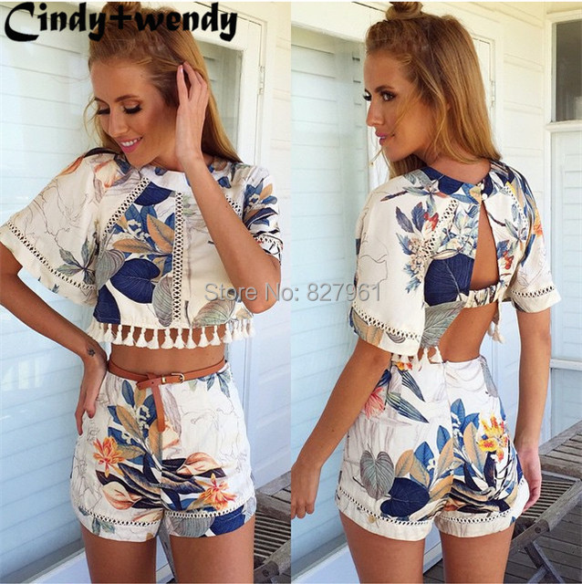 2f53a4f0c5d 2015 New Arrival Women 2 Piece Set Women Tropical Floral Print Crop Top  Shorts Twinset Dress Free Shipping  D172