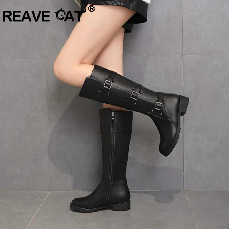 REAVE CAT Women Knee-high Boots Winter Warm Round Toe Botas Feminino Zipper Shoes Buckle Thick Heel Ridding Boots Mujer  A1345