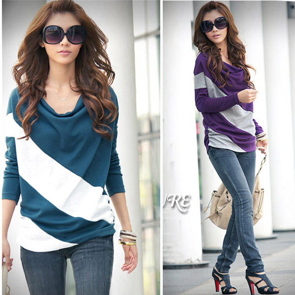 GZDL Spring Fashion Womenu0026#39;s Batwing Long Sleeve Stripe Cotton Casual Loose Ladies Tops T Shirt 4 ...