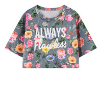 Floral Print Tops Women Summer Casual Crop Top T Shirts Girl Cute Street Style Cropped Tshirt