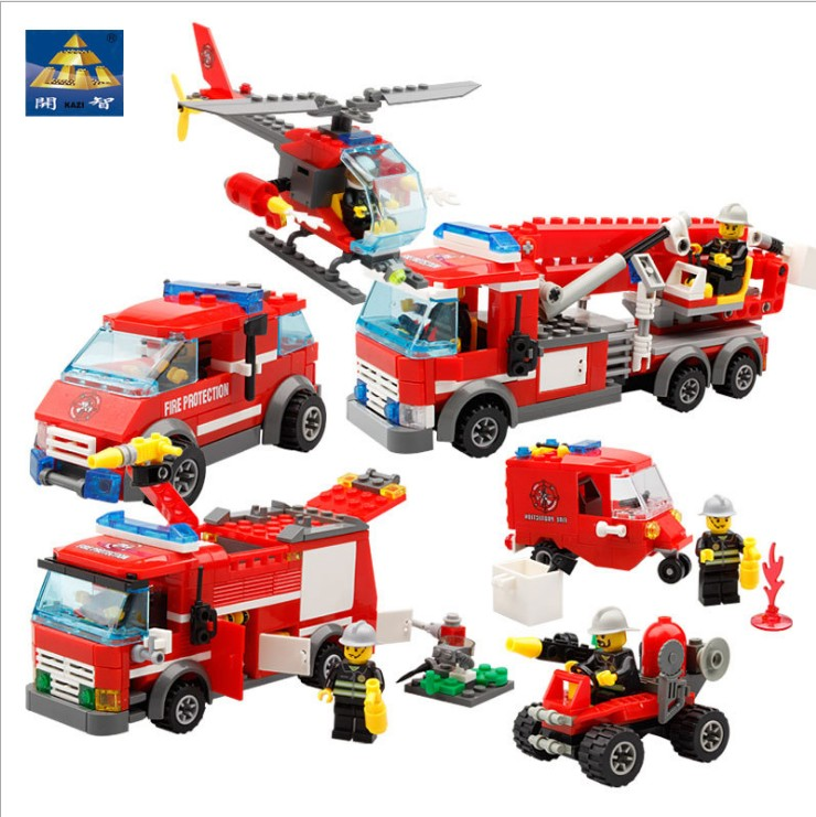 City Fire Rescue KAZI Mini Building Block Fire ladder Helicopt Car Assembled Action Figure Educational Model Childrens Toys Gift