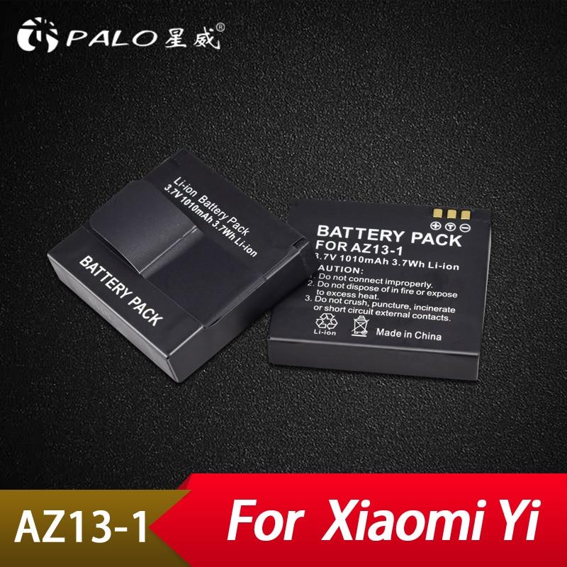 Palo 2Pcs XIAOYI AZ13 Rechargable Li-ion Battery For Xiaomi Yi Action Camera 3.7v 1010mAH Xiaomiyi Sport camera Accessories free shipping xiaoyi sport action travel camera ambarella a7 16mp 1080p 1010mah wifi bluetooth4 0 sj5000 style