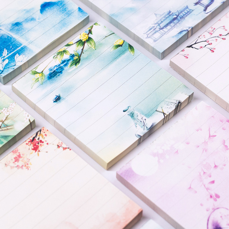 Painting Chinese Sticky Notes Cute Vintage Memo Pad Weekly Planner Stickers Kawaii Travel Jounery Notepad For Kids School Gifts
