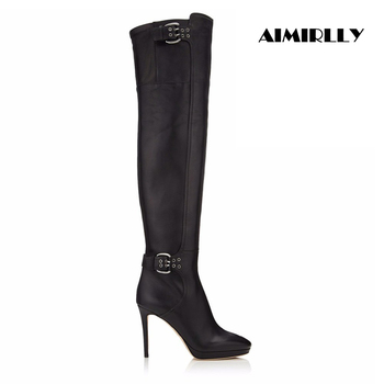 Women Stiletto Over the Knee Boots Ankle Buckle & Zip Fastenings Cross-dresser Shoes Black US Size 4-15.5