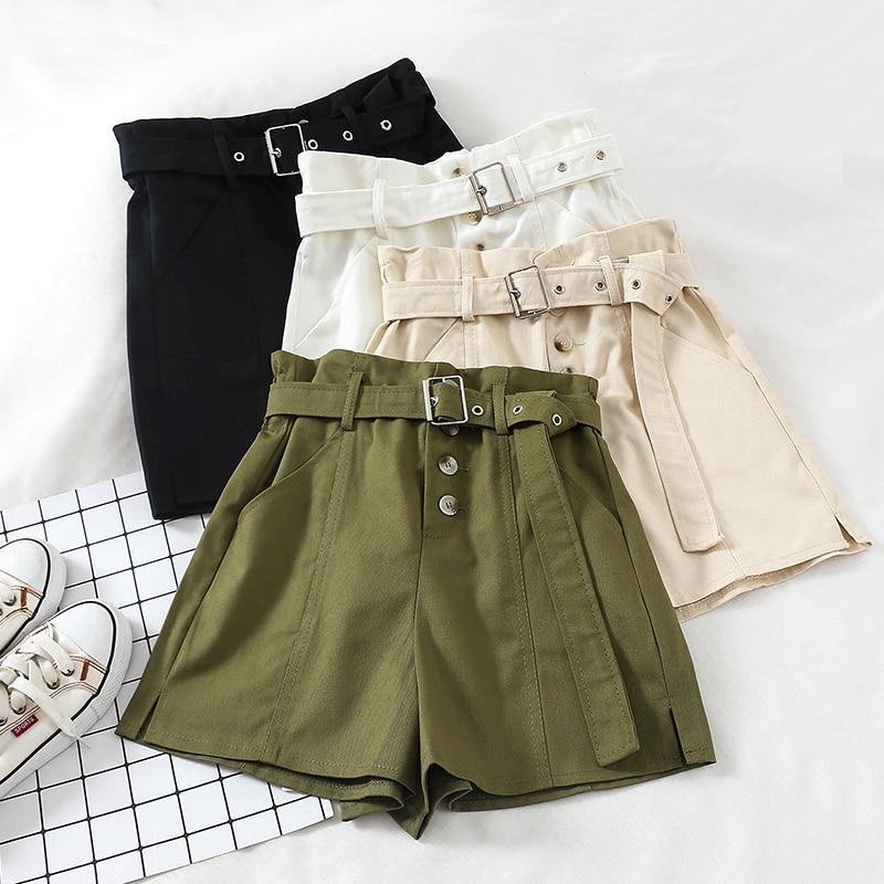Summer Solid   Shorts   For Women Buttons High Waist Wide Leg Hot   shorts