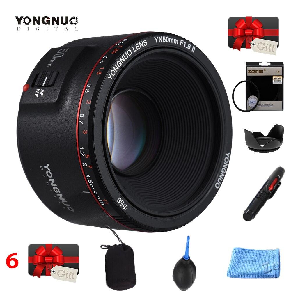 YONGNUO YN50mm YN50 F1.8 II objectif de caméra EF 50mm AF objectifs MF pour Canon rebelle T6 EOS 700D 750D 800D 5D Mark II 10D 1300D