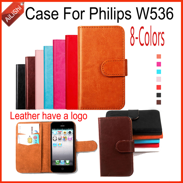 AiLiShi New Arrive PU Leather Case For Philips W536 Case Book Flip 8-Colors Wallet Protective Cover Skin With Card Slot