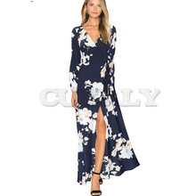 CUERLY Bohemian Causal Printed Flower Sexy V neck High Split Maxi Women Party Flare Summer Beach Dress A092