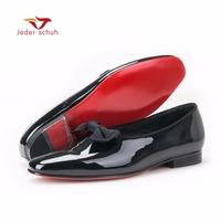 Jeder Schuh New Black Patent Leather Men Handmade Loafers With Black Bowtie Fashion Banquet And Prom