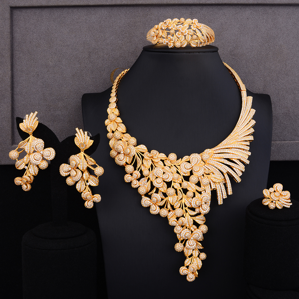 GODKI Luxury Lariat Flower African Cubic Zircon CZ Nigerian Jewelry sets For Women Wedding Dubai Gold Bridal Jewelry Set 2019
