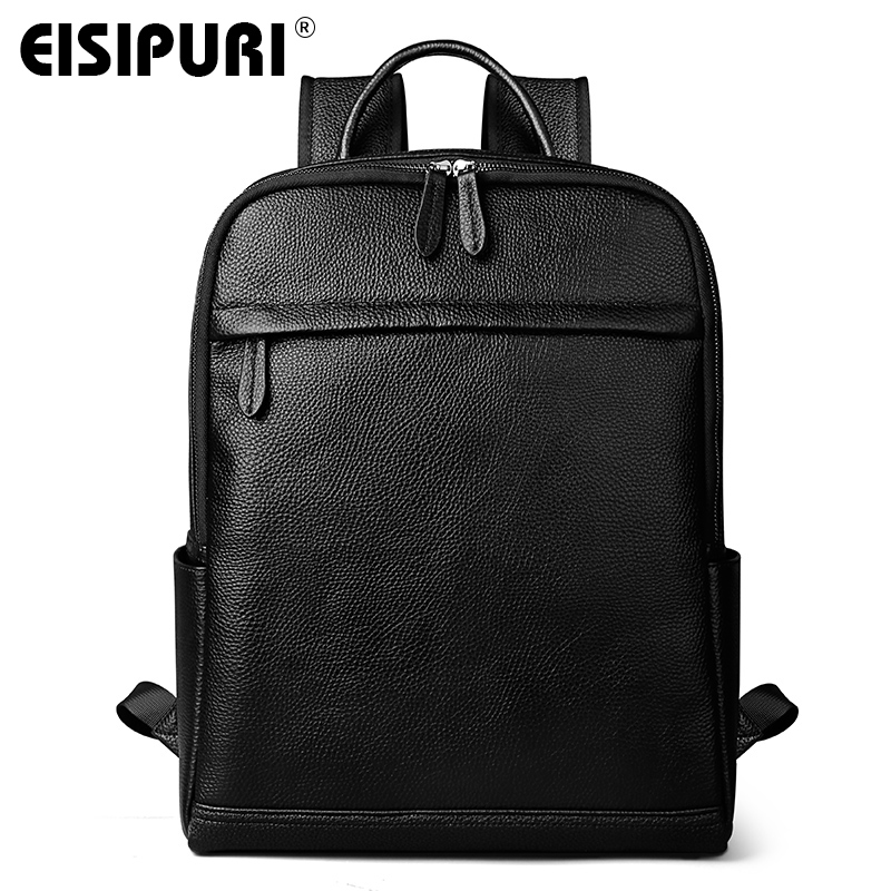 EISIPUR Mens Backpacks Man Rucksack 14 Inch Laptop Bag Student Schoolbags Men Travel Leather Backpack Bags Black bagpack new canvas backpack travel bag korean version school bag leisure backpacks for laptop 14 inch computer bags rucksack
