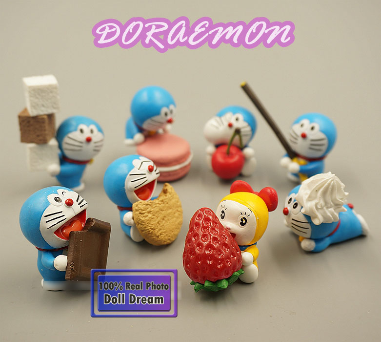 4-6cm 8pcs/lot Japanese classic anime figure kawaii cute Doraemon Dessert cake action figure set collection model toys for girls