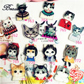 Acrylic HARAJUKU Badge Cat Brooches Pin Up Collar Tips Epaulette Broche Christmas Gifts Channel Brooch ab19