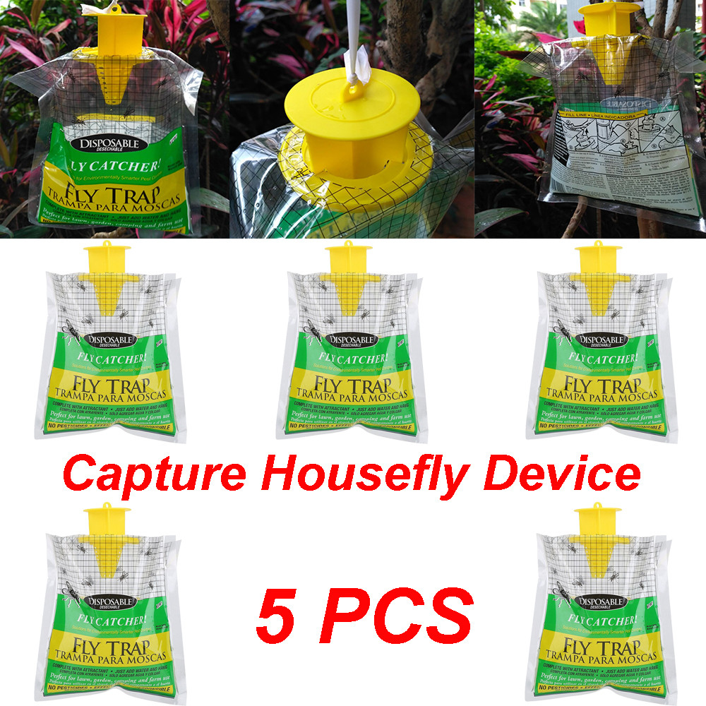 Disposable Catcher 2019  5PCS Disposable Fly Trap Catcher Fly Catcher Insect Trap Hanging Style Pest Control-in Traps from Home & Garden