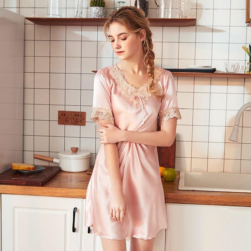 Wasteheart Women Fashion Pink Blue Sexy Backless Lace Mini Nightdress Faux Silk V Neck Nightwear Plus Size   Sleepshirts     Nightgown