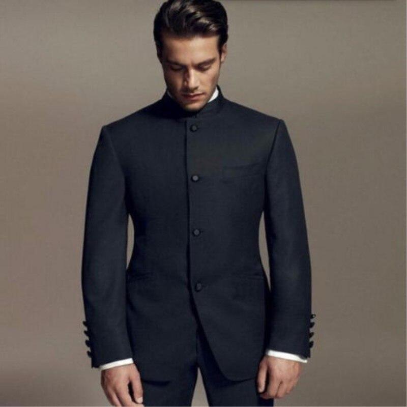 (자켓 + 바지) 2 조각 블랙 느슨한 맞는 남자 정장 스탠드 칼라 남자의 멋진 파티 착용 신랑/최고의 남자 웨딩 턱시도-에서정장부터 남성 의류 의  그룹 1