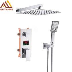 Chrome Bathroom Digital Display Shower Faucet Set Rainfall Shower LCD 2-way Mixer Tap Bathtub Shower System Bath Shower Mixer