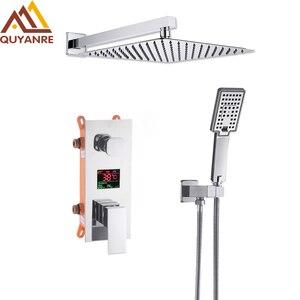 Chrome Bathroom Digital Display Shower Faucet Set Rainfall Shower LCD 2-way Mixer Tap Bathtub Shower System Bath Shower Mixer(China)