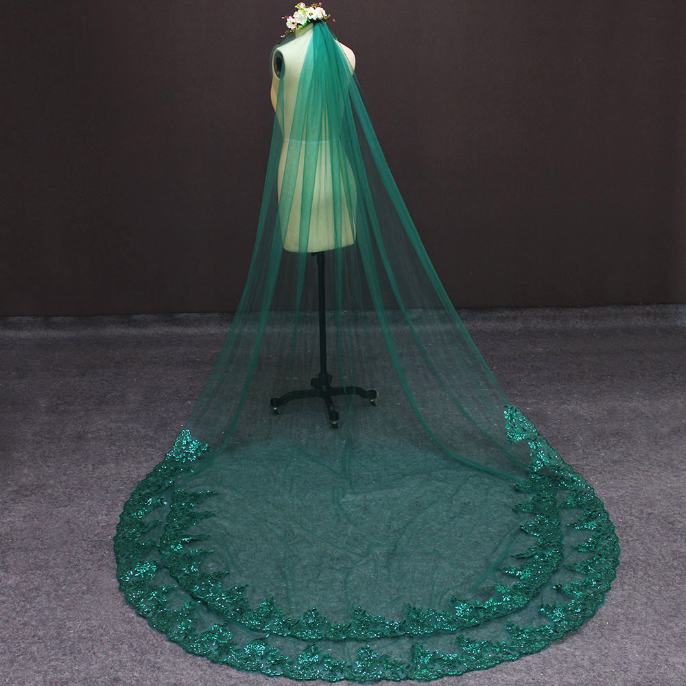Image 5 - Real Photos Green Wedding Veil Single Tier Bling Sequins Lace Bridal Veil with Comb Beautiful Wedding Accessories-in Bridal Veils from Weddings & Events