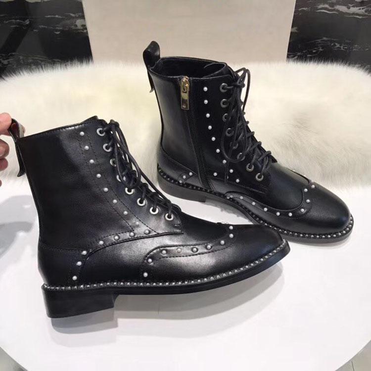 Leather Femme Orteils En Chaussures Botines Mujer Ronde De Zapatos Rivet Métal Zip Cheville plush Décoration Cuir Inside Inside Bottes 2018 Martin xXww4qT