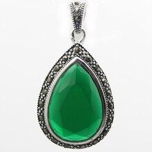 Моды 40*20 Водослива Граненый Зеленый Стерлингового Серебра 925 Марказит Кулон