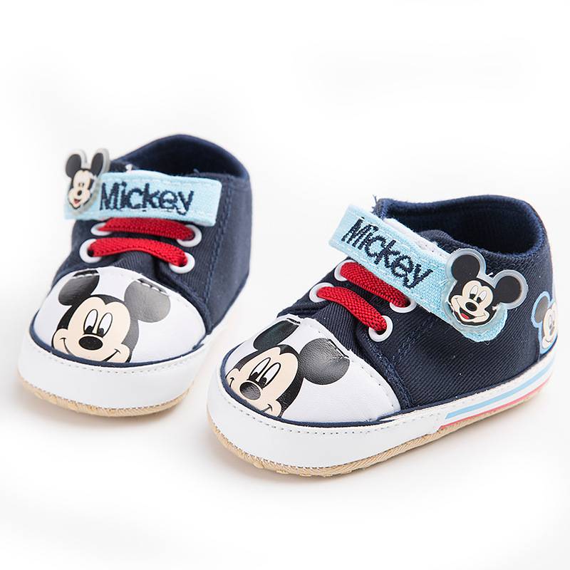 2019 New Disney Baby Shoes 0-1 Years Old Boys And Girls Soft Bottom Toddler Casual Shoes Canvas Mickey Baby Shoes
