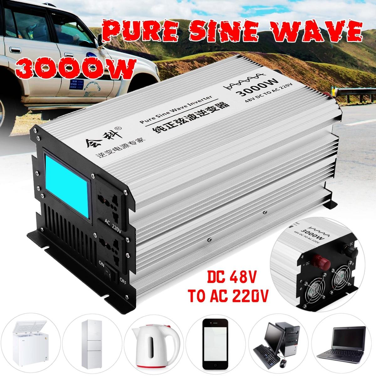 Onduleur onde sinusoïdale pure 1500 W 3000 W Pics 12 v/24 v/48 v à AC110v/ 220 v écran lcd Onduleur alimentation